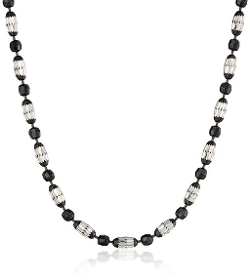 Amazon Collection - Round Beads Mezzaluna Chain Necklace