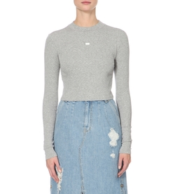 Steve J & Yoni P - Long-Sleeved Ribbed Cropped Top
