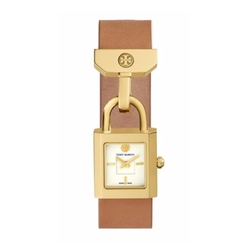 Tory Burch  - Surrey Goldtone Stainless Steel & Leather Strap Watch