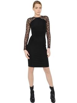 Stella McCartney - Animalier Tulle & Jersey Dress