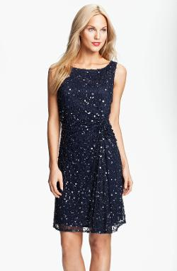 Pisarro Nights  - Sequin & Bead Gathered Mesh Dress