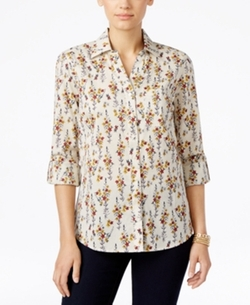 Style & Co. - Floral-Print Button-Front Shirt