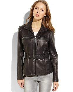 Kenneth Cole New York  - Black Belted Leather Jacket
