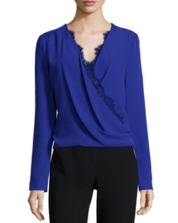 J. Mendel   - Long-Sleeve Lace-Trim Blouse