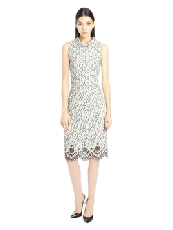 Oscard De La Renta - Laser-Cut Speckled Tweed Dress