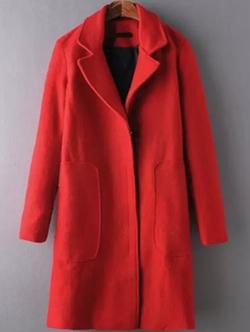 Romwe - Pocket Woolen Red Coat