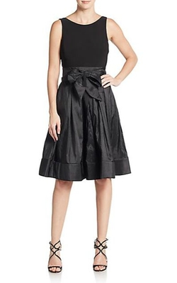 Betsy Adam  - Crepe Fit-And-Flare Bow Dress