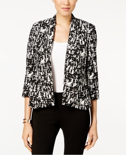 Kasper  - Printed Open-Front Jacket