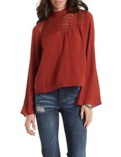 Charlotte Russe - Lace Yoke Mock Neck Gauzy Top