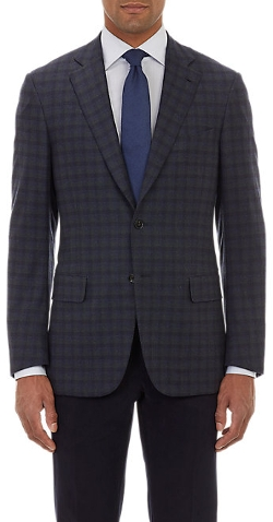 Isaia  - Plaid Hopsack Two-Button Sportcoat