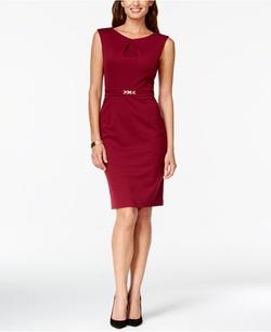 Ellen Tracy - Faux-Belt Sheath Dress