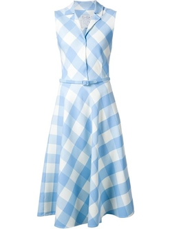 Oscar De La Renta - Convertible Collar Vichy Check Dress