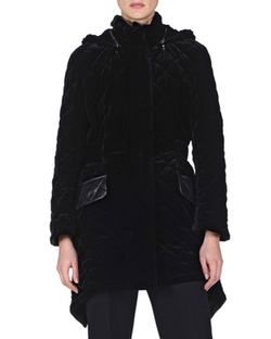 Fendi  - Quilted-Velvet High-Low Jacket