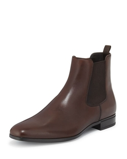 Prada  - Leather Chelsea Rubber-Bottom Boots