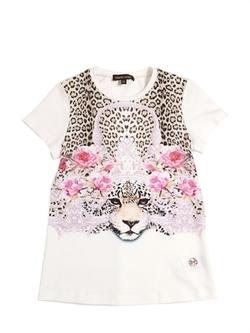 Roberto Cavalli - Leopard Printed Cotton T-Shirt