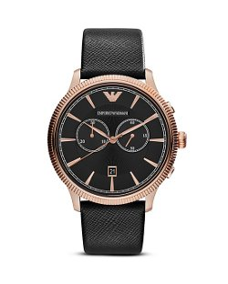 Emporio Armani  - 3-Hand Chronograph Leather Strap Watch