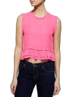 Rebecca Minkoff - Tanya Silk Ruffled Cropped Top