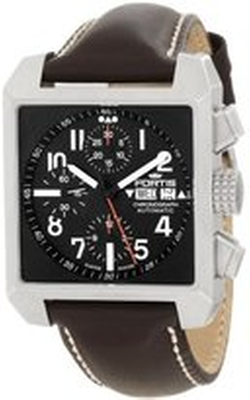 Fortis - Square Chronograph Stainless Steel Leather Strap Watch