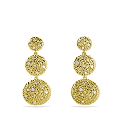 The Cable Coil Collection - Diamond Triple-Drop Earrings