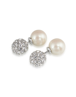Carolee - Catch The Bouquet Double Sided Glitz Pearl Earrings