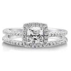 BERRICLE  - Cushion Cubic Zirconia Sterling Silver 2Pc Halo Bridal Promise Engagement Wedding Ring Band Set