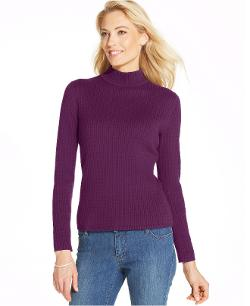 Karen Scott  - Long-Sleeve Cable-Knit Mock Turtleneck Sweater