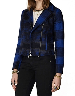 BB Dakota - Southwestern-Plaid Moto Jacket