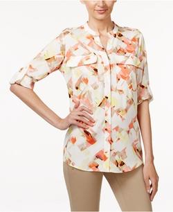 Calvin Klein - Tab-Sleeve Printed Blouse