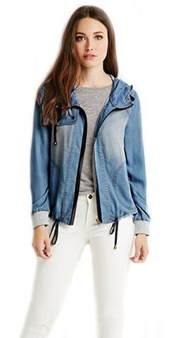 Lovelelify  - Zip Hooded Denim Jacket