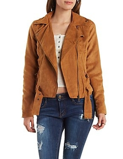 Charlotte Russe - Belted Faux Suede Moto Jacket