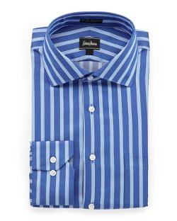 Neiman Marcus  - Classic-Fit Striped Dress Shirt
