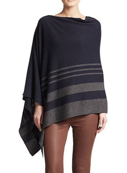 Saks Fifth Avenue Collection  - Striped Cashmere Poncho