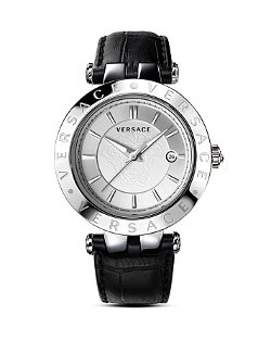 Versace  - V-Race Leather Strap Watch