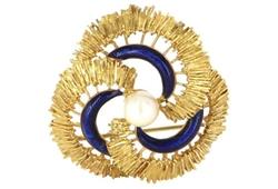 Vintage - Cultured Pearl & Enamel Infinity Brooch