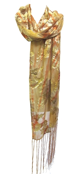 Steel Paisley - Bijoux Floral Silk Burnout Fringed Scarf