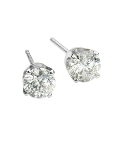 Lord & Taylor - White Gold Round Cut Diamond Stud Earrings