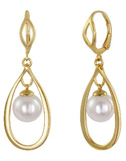 Majorica  - 18kt. Gold Vermeil & Pearl Hoop Pendant Earrings