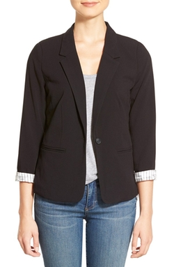 Kensie  - Stretch Crepe One-Button Blazer