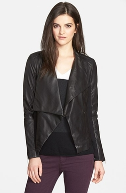 Trouvé - Drape Collar Leather Jacket