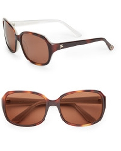 O By Oscar De La Renta - Tortoise Rectangular Sunglasses