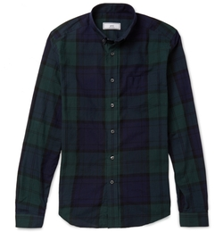 Ami - Button-Down Collar Checked Cotton Shirt