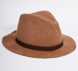 Asos  - Fedora Hat In Camel Faux Suede