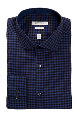 Perry Ellis - Long Sleeve Check Slim Fit Dress Shirt