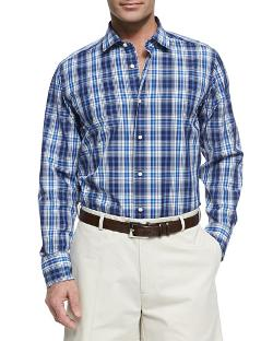 Neiman Marcus   - Plaid Button-Down Shirt