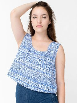 Tribal - Print Rayon Loose Crop Top