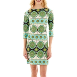 JC Penney - London Style Collection Long-Sleeve Medallion Print Shift Dress
