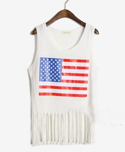 ChicNova - American Flag Pattern Print Sleeveless Tank With Tassels Hem