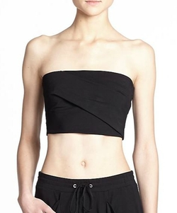 Helmut Lang  - Strapless Asymmetrical-Fold Cropped Top