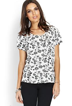 Forever 21 - Floral Art Pocket Tee