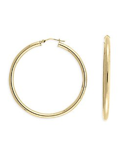 Lord & Taylor  - 14 Kt. Yellow Gold Polished Hoop Earrings